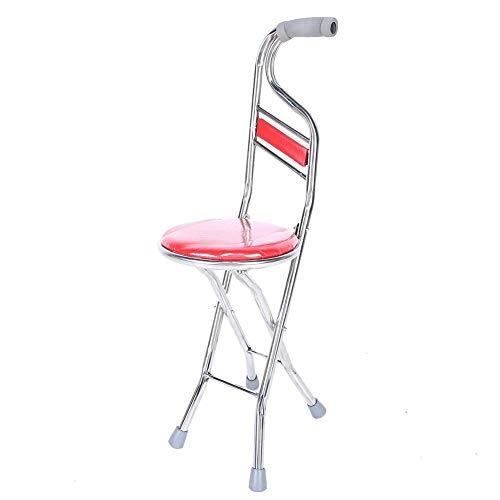 Jingyi Bastón para Caminar, Duradero y confiable, Taburete Plegable para Caminar, bastón para Caminar de Acero Inoxidable para Ancianos con Cuatro Patas, Engrosamiento(Rojo)