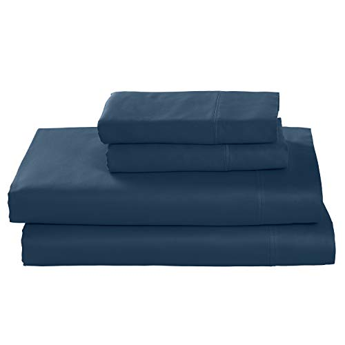 Rivet Cotton Tencel Bed Sheet Set, Soft and Breathable, Queen, Deep Sea Blue