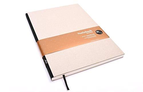 Notizbuch A4 hardcover | Öko-Schwarz | Skizzenbuch A5 blanko | Journal A5 | nachhaltige Notizbücher | Öko-look Natur-Design