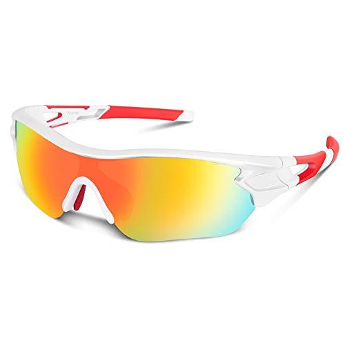 Bea Cool Sportbrille Sonnenbrille Herren, Polarisierte Sport Brille mit UV400 Schutz TAC Sportsonnenbrille PC Rahmen für Radfahren, Laufen, Outdoor-Aktivitäten (Weiß rot)
