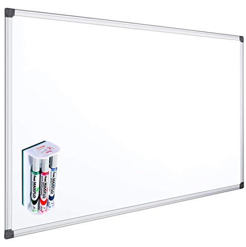 OFITURIA® Pizarra Blanca Magnética Lacada Con Marco De Aluminio Resistente Fácil De Borrar en Seco, Medida 90x60 cm + Pentel Maxiflo