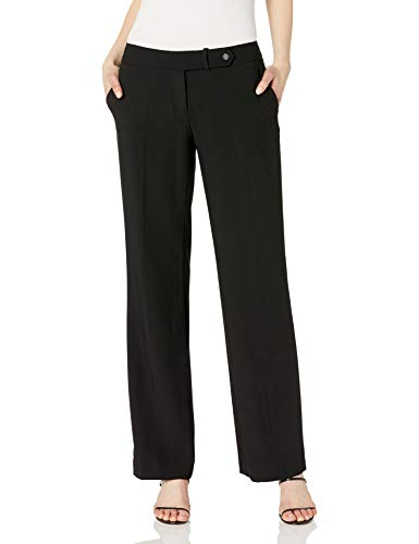 Calvin Klein Women's Classic Fit Straight Leg Suit Pant, Black, 14