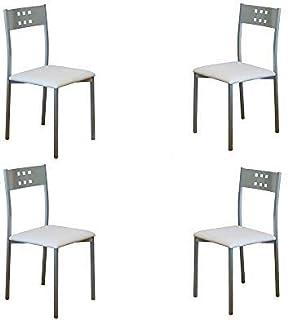 MOMMA HOME Set 4 Sillas - Modelo Xara - Color Plata/Blanco - Material Metal/Ecopiel - Medidas 41 x 47 x 86 cm