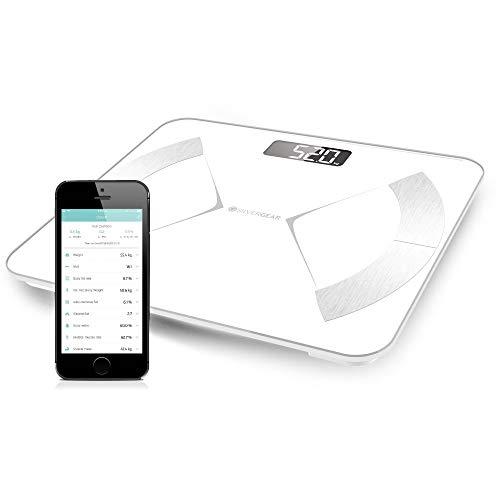 Silvergear Körperfettwaage, Personenwaage Digital, Körperanalysewaage, Waage mit Bluetooth mit App, Waage mit Körperfett und Muskelmasse, BMI, Gewicht, Wasser, Protein, Knochengewicht, BMR, Weiß