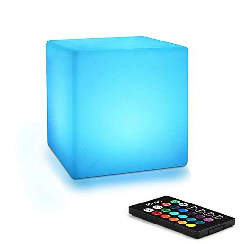 Mr.Go 4-inch LED Cubo Luz Nocturna Luz del Humor Control Remoto, 16 Colores Regulables, RGB Cambio de Color Lámpara de Mesita de Noche para Niños Habitación Iluminación y Decoración