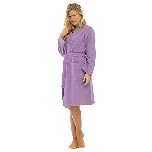 Dames 100% Katoen Wafel Badjas Dressing Jurk Badjas Housecoat Lila Klein