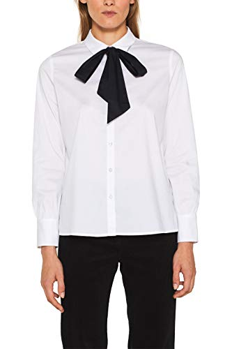 ESPRIT Collection Damen 109EO1F024 Bluse, Weiß (White 100), (Herstellergröße: 40)