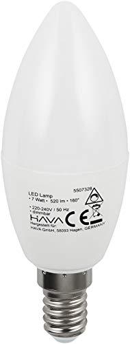 LED Leuchtmittel Kerze 7W E14 C37 160° - Flimmerfrei IC-Driver - Dimmbar stufenlos 0-100% - warmweiß (3000 K)