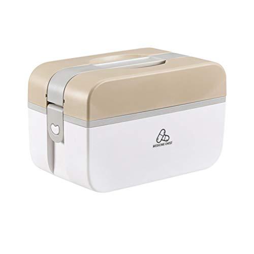 Exceart Familie Erste-Hilfe-Box Pille Fall Medizin Aufbewahrungsbox Kunststoff Medizin Box für zu Hause (Braun Größe M)