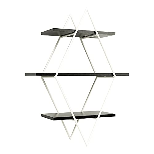 Floating Wall Shelf, 3-Layer Design Wrought Iron Wooden Wall Shelf, Display Shelf for The Background Wall of The Study Room Entrance/A / 80x60x20cm