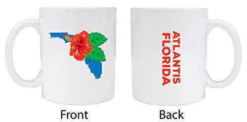 Atlantis Florida Souvenir White Coffee Mug Hibiscus Design 2-Pack