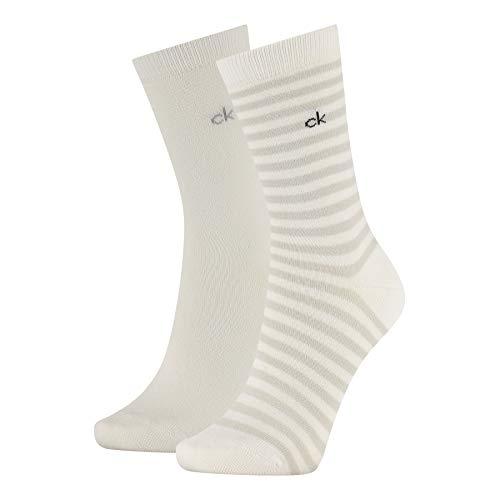 Calvin Klein Organic Cotton Women's Crew Socks (2 Pack) Calzini, Bianco, Taglia Unica Donna