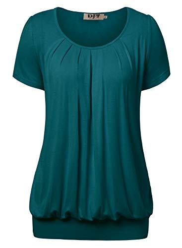 DJT Damen Casual Falten Kurzarm T-Shirt Kurzarmshirt Rundhals Stretch Tunika Blaugrün XL