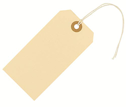 Shipping Tags with String Attached 4 3/4' x 2 3/8' (12x6 cm) Box of 100 Large Manila Paper Tags with Strings and Reinforced Hole