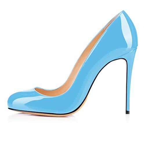 Soireelady Damen Runde Geschlossene Pumps Klassische High Heels Stiletto Schuhe Hellblau EU44