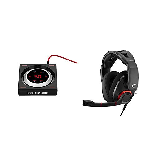 EPOS | Sennheiser GSX 1000 Gaming Audio Amplifier / External Sound Card & SENNHEISER GSP 500 Wired Open Acoustic Gaming Headset, Noise-Cancelling Microphone, Adjustable Headband – Black/Red