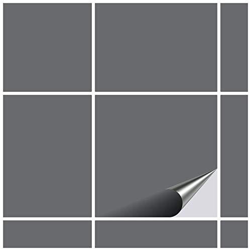 FoLIESEN Fliesenaufkleber 15x15 cm - Fliesen-Folie Bad - Klebefolie Küche - 20 Klebefliesen, Silbergrau glänzend