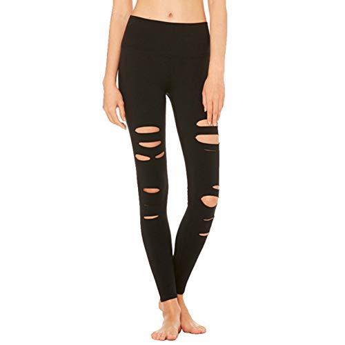 HP-YSH Leggings de Yoga de Cintura Alta para Mujeres Pantalones de Control del Vientre compresivo Leggings rotas Mallas cómodas y Delgadas