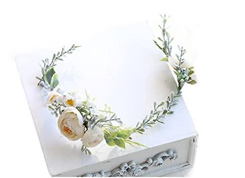 HJYHYN Blumenkranz Haare Haar Blumenkranz Künstliche Blumen Krone Braut Kopfstück Greenery Krone Haarreif Blumen für Hochzeit Zeremonie Party Festival