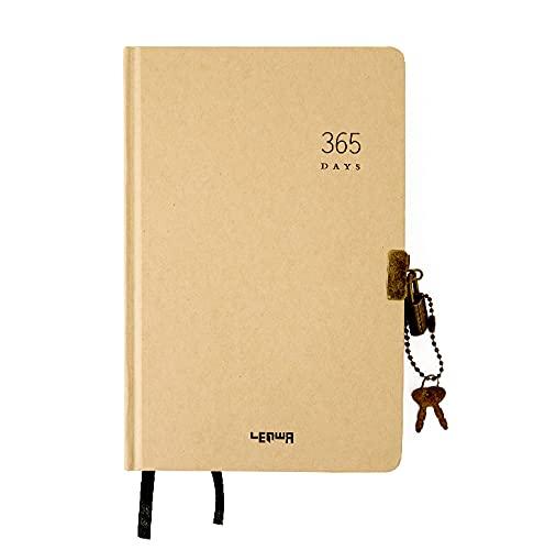 Diario de tapa dura A5 con bloqueo, cuaderno kraft con cerradura, diario secreto en blanco, planificador diario, cuaderno de bocetos, cuaderno de dibujo y bloc de notas