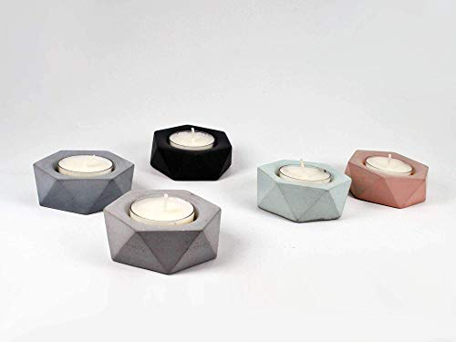Concrete Tealight Candle Holders - Set of 2, Geometric Style, Home Decor