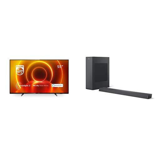 Philips 55PUS7805/12 55-Zoll 4K UHD TV mit Ambilight (P5 Engine, Dolby Vision∙Atmos, Alexa Sprachsteuerung, Saphi Smart TV) mit Soundbar B6305/10 inkl. Subwoofer (Bluetooth, 140 W, Dolby Audio) Grau