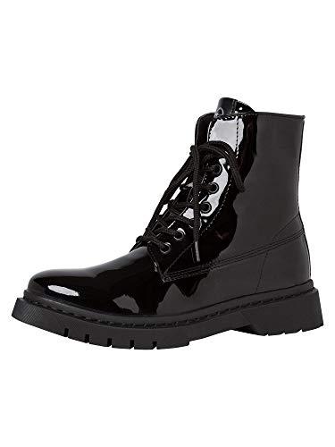 Tamaris Damen Stiefel, Frauen Schnürstiefel,lose Einlage, Boots Combat schnürung weiblich Lady Ladies Women's Women,Black PATENT,40 EU / 6.5 UK