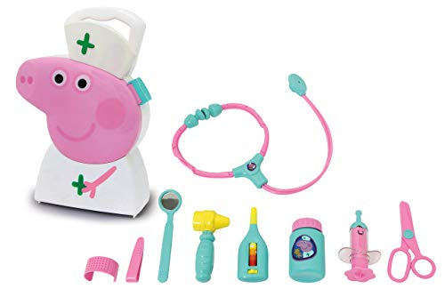 Jamara 410095 Suitcase-10-piece Suitcase Set, Sturdy and Handy Carrying case, Child-Friendly Doctor's Utensils for Role Playing, Cute Peppa Pig Design, White