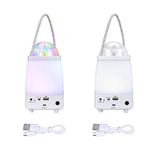YoungRich 2 stuks USB LED Bluetooth luidspreker campinglamp met 2 lichtmodi draagbare party lichteffecten licht podiumverlichting camping lantaarn tentlamp voor binnen en buiten 17.5x10.5cm 5V/220V wit