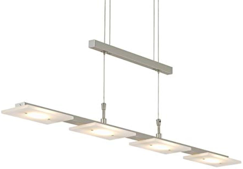 Briloner Leuchten 4310-042 LED Pendelleuchte Esszimmer, Pendellampe, dimmbar, hhenverstellbar, Metall, 20 W, matt nickel, 88 x 9 x 1750 cm