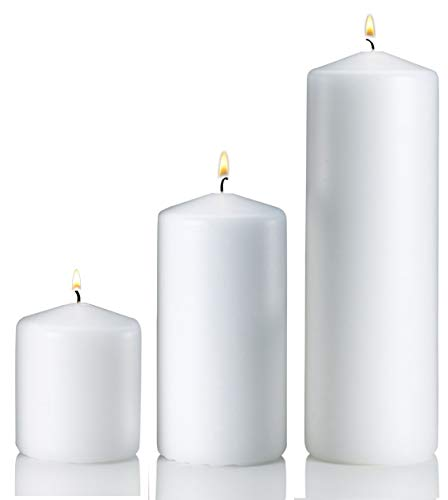 Light In The Dark White Pillar Candle Variety Set - 3 White Unscented Pillar Candles - Set Includes 3, 6 and 9 Candles