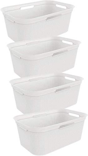 Rotho 4er-Set Wäschekorb 40 l, Kunststoff (PP), weiss, 40 Liter (59, 6 x 39, 6 x 23, 2 cm)