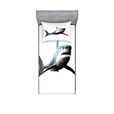 Ambesonne Shark Bedding Set with Sheet & Covers, Digital Illustration of Wild Sea Creature Character Computer Art Artifical Image, Printed Bedroom Decor with Sham