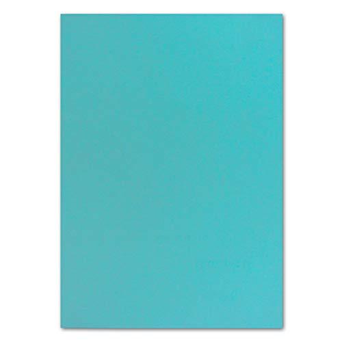 50 DIN A4 Papierbogen Planobogen -Türkis - 160 g/m² - 21 x 29,7 cm - Bastelbogen Ton-Papier Fotokarton Bastel-Papier Ton-Karton - FarbenFroh®