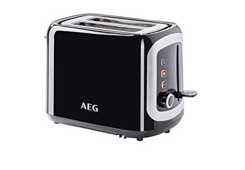 AEG AT 3300 Doppelschlitz-Toaster (Brötchenaufsatz, Staubschutz-Deckel, 7 Bräunungsgrad-Einstellungen, Brötchenaufback-Funktion, Stopp-, Auftau- & Aufwärmknopf, Krümelschublade, schwarz/silber)