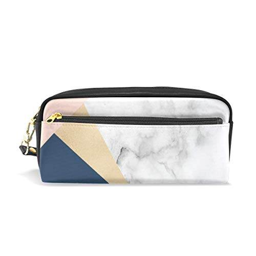 Lawenp Large Capacity Pencil Case and PU Leather Pen Bag Elegant Stylish Girly Rose Gold White Marble Zipper Stationery Supplies Pencil Pouch Comestic Makeup Bag for Girls and BoysLarge Capacity Pen