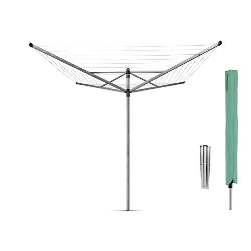 Brabantia Lift-O-Matic Tendedero de Jardín con Soporte y Funda, Acero Inoxidable, Gris metalizado, 50 m de cuerda