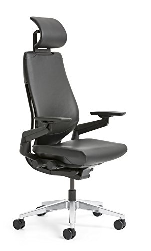 Schreibtischstuhl Chefsessel Gesture Executive von Steelcase mit Kopfstütze Bezug Leder schwarz/Rückenschale Amselgrau/Spange + Fußkreuz Platin metallic