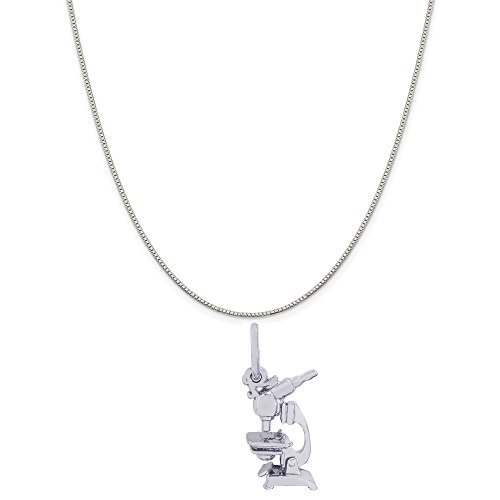 Rembrandt Charms Sterling Silver Microscope Charm on a Sterling Silver Box Chain Necklace, 20'