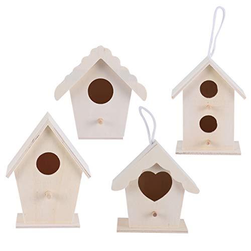 Exceart 4 Stks Houten Vogelhuisje Decoratieve Kleine Vogelhuisje Vogels Huis Ornamenten Onvoltooide Vogelnest Voor Foto Props Tuin Home Decor