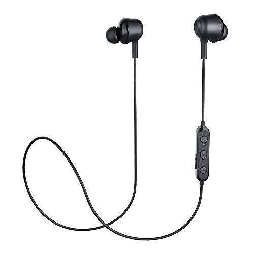 Langsdom - Auriculares Bluetooth inalámbricos V5.0 con funda de carga portátil y micrófono integrado (T7, negro) null negro