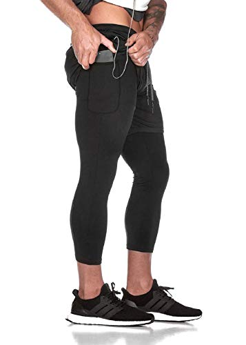 UMIPUBO - Pantalones cortos de deporte para hombre, secado rápido, 2 en 1, doble capa, con agujero de toalla para colgar Negro XXL
