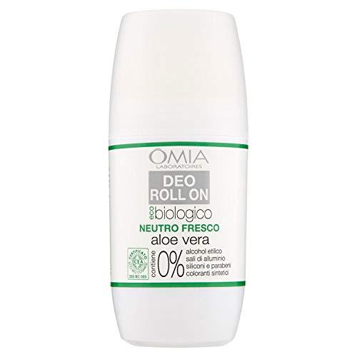 Omia, Déodorant Roll On Eco bio avec aloe vera, anti-transpirant, désodorisant pour sudation intense, sans sels d'aluminium, fraîcheur pendant 24 heur