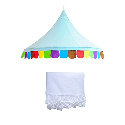 Brownrolly Kids Baby Canopy with Mosquito Net, Kids Grow Tent Crib Play Tent Exquisite Bedroom Decorationfor Toddlers Boys Girls