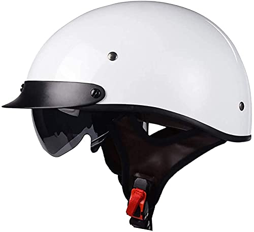 Casco medio de la motocicleta, casco abierto retro del casco de la bicicleta del casco de la bicicleta del casco y las gafas de sol retro para la motocicleta de la moto de los hombres adultos, ECE / D