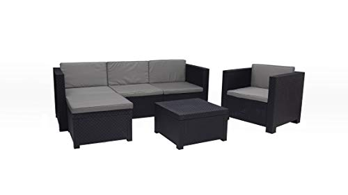 Shaf Manhattan | Set Muebles de Jardin de Color Grafito | Fabricado en España con Materiales Reciclados, Antracita