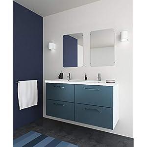 RANDALSA mueble de baño moderno Happy. Lavabo de doble seno 120cm. Conjunto completo. Azul
