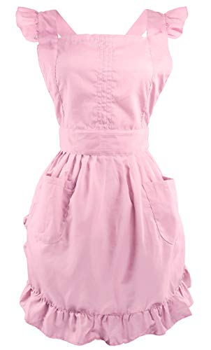 LilMents Retro Adjustable Ruffle Apron with Pockets, Small to Plus Size Ladies (Pink)
