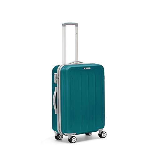 R Roncato Trolley Medio Rigido Ultraleggero Serie Flight in ABS 100% per Viaggi e Vacanze, da Imbarcare in Aereo, Colore Azzurro
