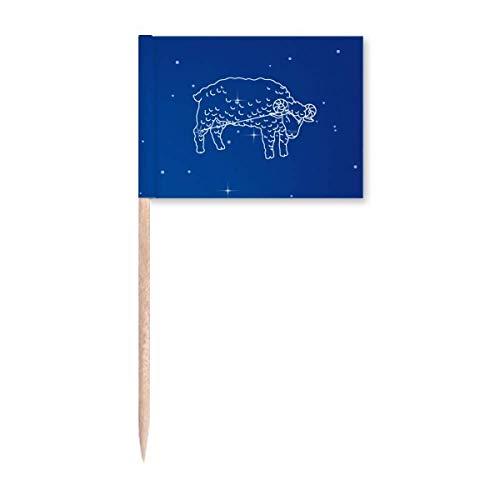 Star Universe Widder Konstellation Zahnstocher Flaggen Marker Topper Party Dekoration